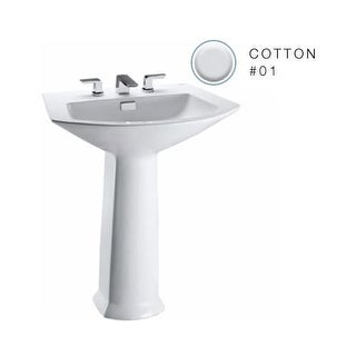 "Toto LPT962 Soiree 25-1/8"" Pedestal Bathroom Sink with Single Hole Drilling and Rear Overflow - Pedestal Included"