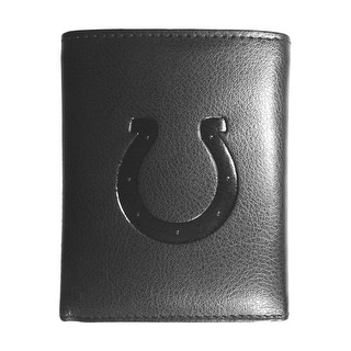 Indianapolis Colts NFL Embossed Tri-fold Leather Wallet - Black