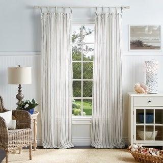 Link to Martha Stewart Laguna Stripe Semi-Sheer Tie Tab Curtain Panel Pair Similar Items in Curtains & Drapes