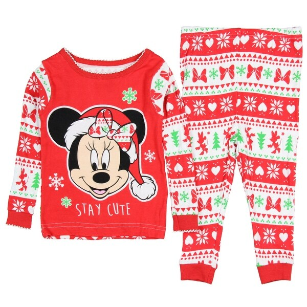 8c8ea437f Shop Disney Minnie Mouse Festive Christmas Stay Cute Toddler Girl's Pajamas  - Free Shipping On Orders Over $45 - Overstock - 18821127