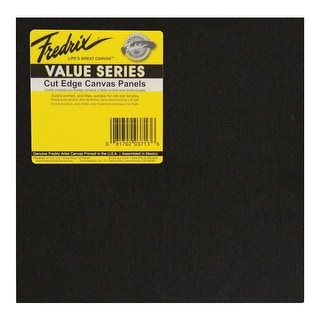 Fredrix Value Series Cut Edge Canvas Panel, 12 in Square, Black, Pack of 25