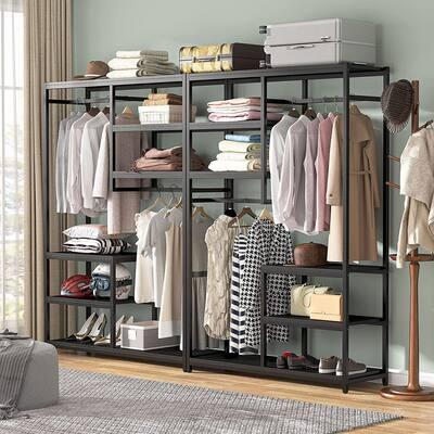 Freestanding Closet Organizer Garment Rack with Hanging Rod and Storage Shelf