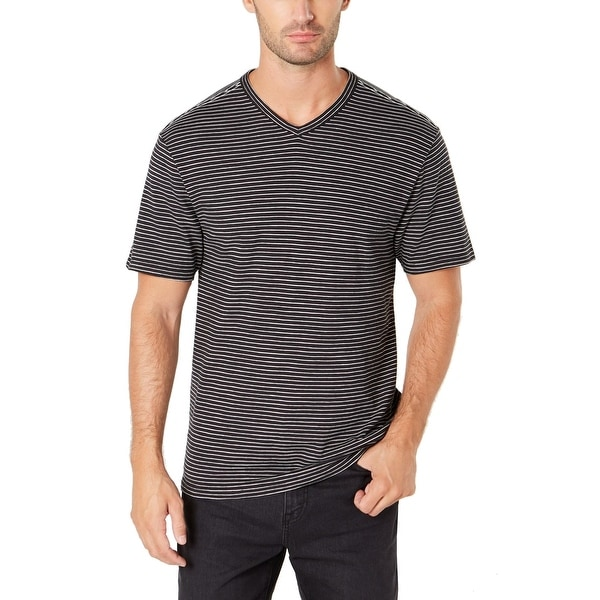 0ae2452d29 DKNY Meteorite Black Mens Size Medium M Striped V Neck Tee Shirt. Click to  Zoom