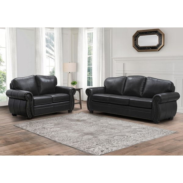 Abbyson Richfield Brown Top Grain Leather 2 Piece Living Room Set. Opens flyout.