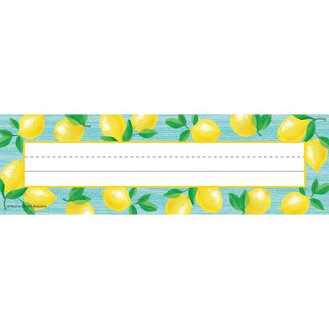 "Lemon Zest Flat Name Plates, 11.5"" x 3.5"", 36 Per Pack, 6 Packs - One Size"