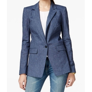 MICHAEL Michael Kors NEW Blue Womens Size 6 Notched Lapel Linen Jacket