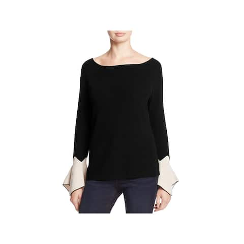 Nic + Zoe Womens Crystal Pullover Sweater Contrast Cuff Bell Sleeve