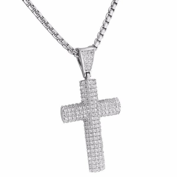 Lab Diamond Cross Pendant 24 Inch Necklace Charm Set Hip Hop Mens Womens