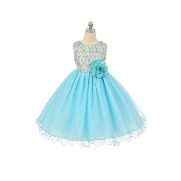 67fd8dda9 Shop Chic Baby Little Girls Aqua Jacquard Flower Girl Special Occasion Dress  2-6 - Free Shipping Today - Overstock.com - 18170589