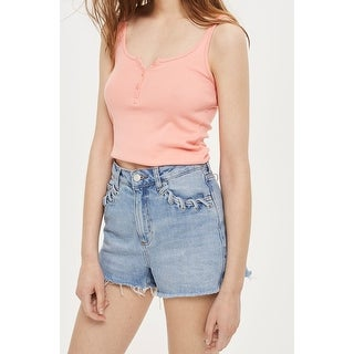 TopShop NEW Pink Women's Size 10 Solid Button-Neck Knit Crop Tank Top 050