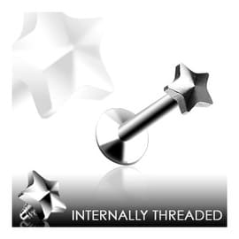 "Surgical Steel Internally Threaded Labret with 4mm Threaded Star - 14GA 3/8"" Long (Sold Ind.)"