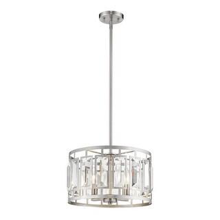 Z-Lite 16 in. Mersesse 4 Light Brushed Nickel Pendant Ceiling Light