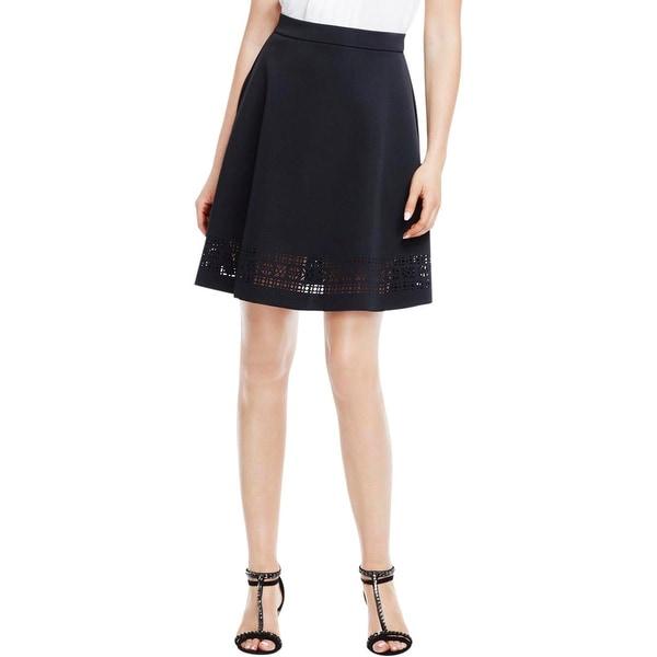 Vince Camuto Womens A-Line Skirt Neoprene Laser Cut
