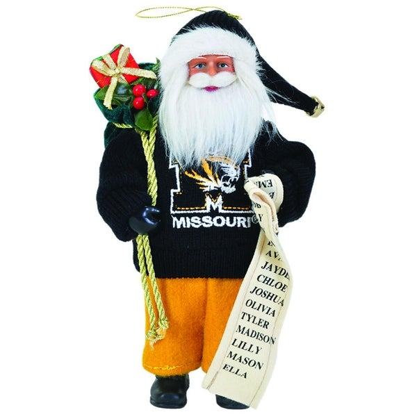 "9"" NCAA Missouri ""Mizzou"" Tigers Santa Claus with Good List Christmas Ornament"