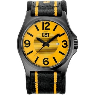 CAT mens Yellow Analog Dial with Yellow and Black Nylon Strap Watch