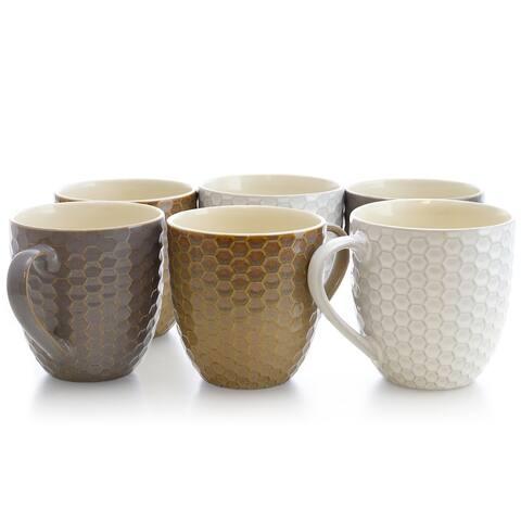 Elama Honeycomb 6-Piece 15 oz. Mug Set, Assorted Colors