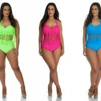 High Waisted Bikini with Fringe Halter Top