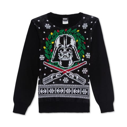 Hybrid Boys Darth Vader Pullover Sweater, Black, S (8) - S (8)