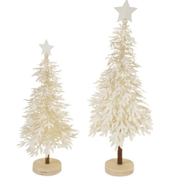 Pack of 4 Decorative Ivory White Layered Snowflake Tree with Star