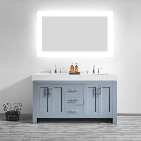 36'' Rectangle LED Lighted Accent Bathroom/Vanity Wall Mirror - Glass