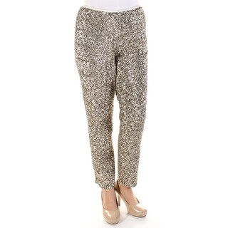 RALPH LAUREN $398 Womens New 1533 Gold Sequined Pants 14 B+B