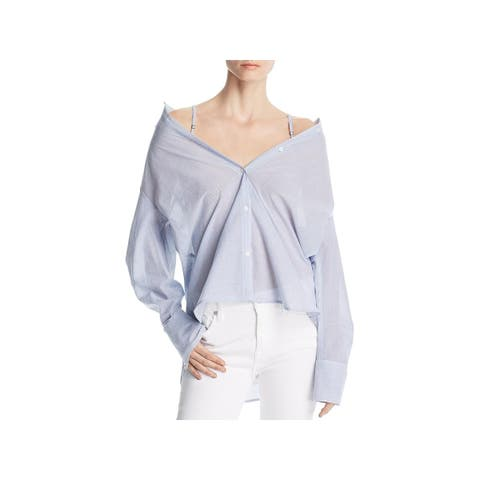 Kenneth Cole Womens Button-Down Top Off The Shoulder Cotton