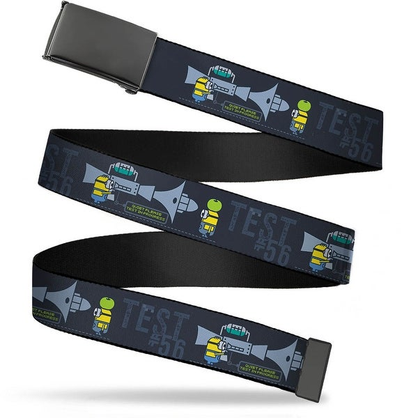 Blank Black Bo Buckle Despicable Me Minion Testing Test #56 Blues Web Belt