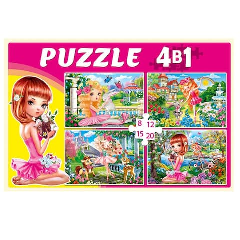 Sweet Ballerinas 8, 12, 15, 20 pc. 4 in 1 Jigsaw Puzzle for Kids