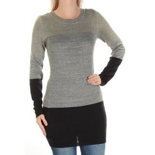 Womens Gray Long Sleeve Jewel Neck Top Size S