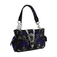 Purple Camo Forest Camouflage Rhinestone Buckle Concealed Carry Handbag