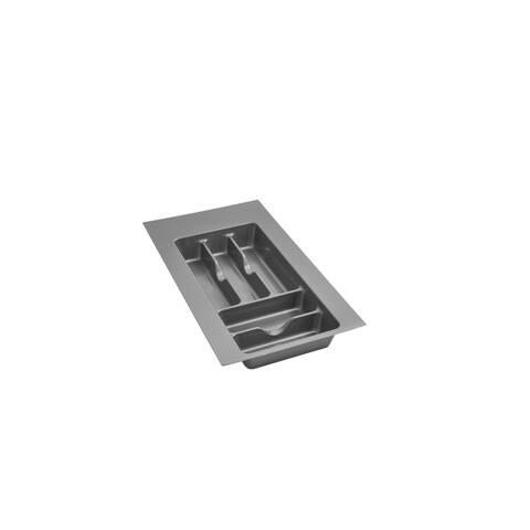 """Small Silver Glossy Cutlery Organizer - 11.5""""W x 21.25""""D x 2.38""""H"""