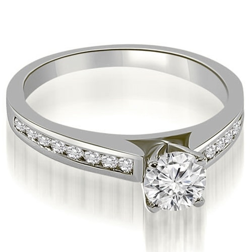 0.82 cttw. 14K White Gold Cathedral Channel Round Cut Diamond Engagement Ring