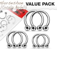 Value Pack 3 Pairs of Surgical Steel Horseshoes/Circular Barbells