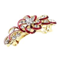 Unique Bargains Flower Style Faux Rhinestone Inlaid Hairpin Hair Clip Barrette Red for Lady