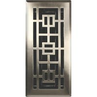 "Imperial RG3295 Oriental Floor Register, 4"" x 12"", Satin Nickel"