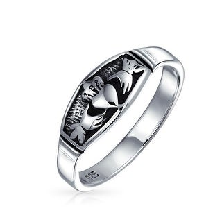 BFF Celtic Irish Friendship Couples Promise Claddagh Wedding Band Ring For Men For Women Oxidized 925 Sterling Silver