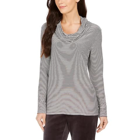 Charter Club Women's Striped Cowl Neck Top Black Size Small