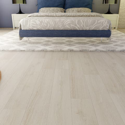 "EVA Backing SPC Flooring Planks, Gray Ash 4mm x 7"" x 48"" -20mm wear layer- I4F Click Locking, 30 sq ft Plank/Case (Pcs Option)"