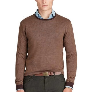 Polo Ralph Lauren Silk and Cotton Herringbone Crewneck Sweater Brown Medium M