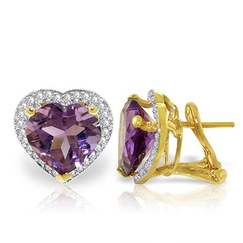 6.48 Carat 14K Solid Gold Natural Heart Amethyst Diamond Earrings