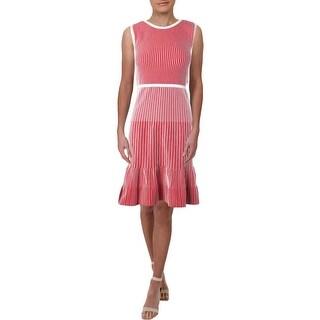 Lauren Ralph Lauren Womens Flounce Dress Striped Sleeveless