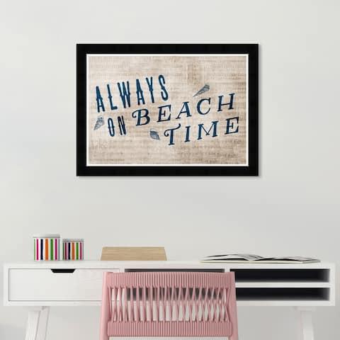 Wynwood Studio 'Always on Beach Time' Nautical and Coastal White Wall Art Framed Print