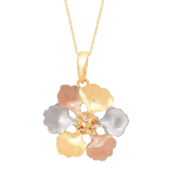 Just Gold Brushed Flower Pendant in 14K Yellow & Rose Gold with Rhodium Plate - three-tone