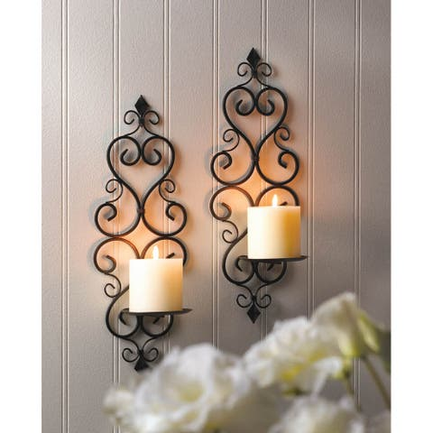 Scrollwork Candle Wall Sconces (Set of 2)