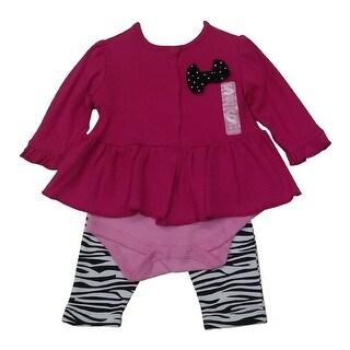 Bon BeBe Baby Girls Fuchsia Bow Accented Top Bodysuit Zebra Pants Outfit