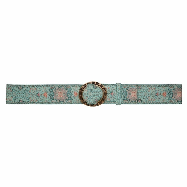 Women's Tapestry Belt - Canvas Grosgrain Ribbon - Pewter Buckle