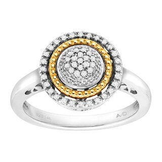 1/8 ct Diamond Circle Ring in Sterling Silver & 14K Gold
