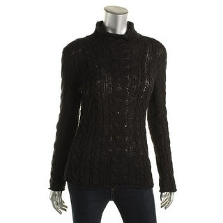 LRL Lauren Jeans Co. Womens Cable Knit Mock Neck Pullover Sweater
