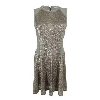 Rachel Roy Women's Sleeveless Sequin Flare Dress - Silver