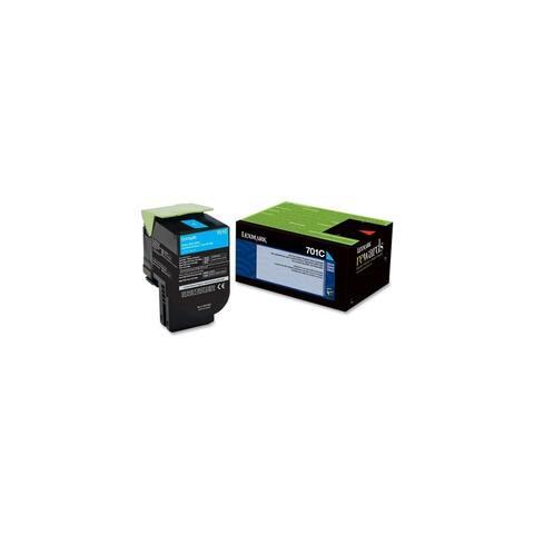 Lexmark 70C10C0 Lexmark 701C Cyan Return Program Toner Cartridge - Cyan - Laser - 1000 Page - 1 Each